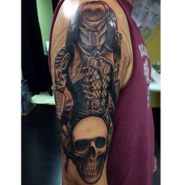 best gray color ink Scary Predator And Skull Tattoo for boys