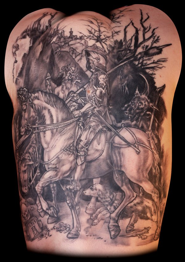 Best Horse Tattoo On Back With Black Ink For Women And Man