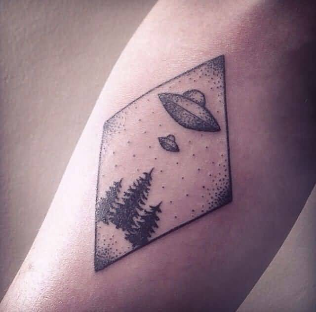 brilliant black color ink Ufo And Tree Tattoo On Elbow for boys