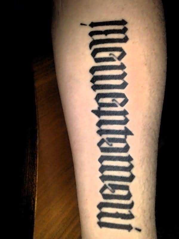 brilliant black color ink ambigram tattoo on sleeve for men