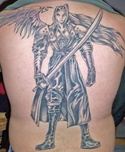 brilliant gray color ink angel warrior tattoo on boy's full back for boys only made by expert