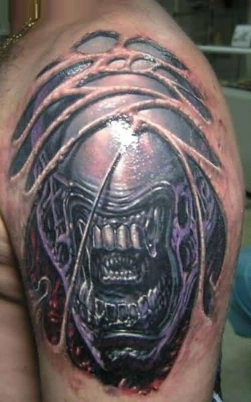 charming gray and red color ink Predator Face Tattoo On boy shoulder