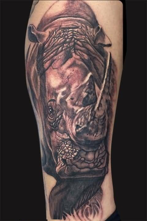 Charming Ink African Rhino Tattoo For Man