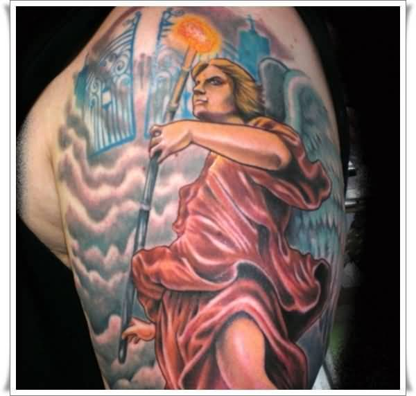 charming red and blue color ink angel warrior tattoo on boy's full shoulder for boys only made by expert artist