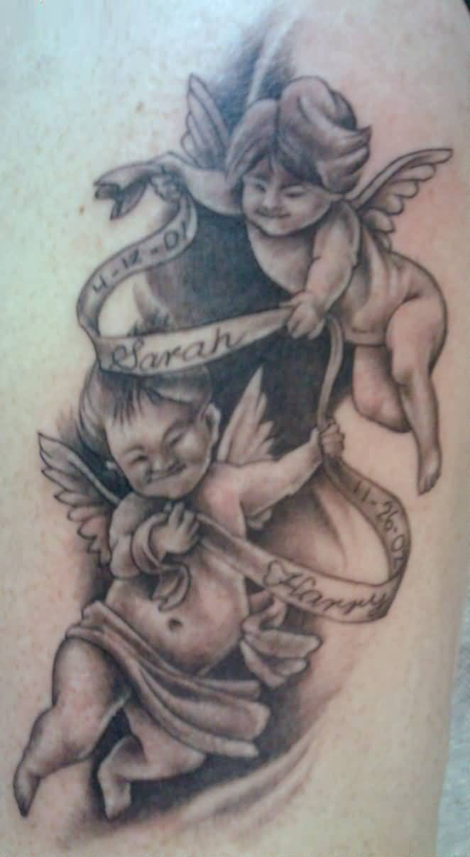 cool black and gray color ink baby angel tattoo on boy front for boys made by expert