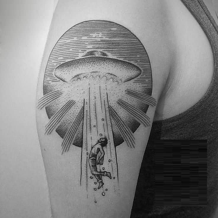 cool black color Scary Ufo Tattoo On Shoulder for boys