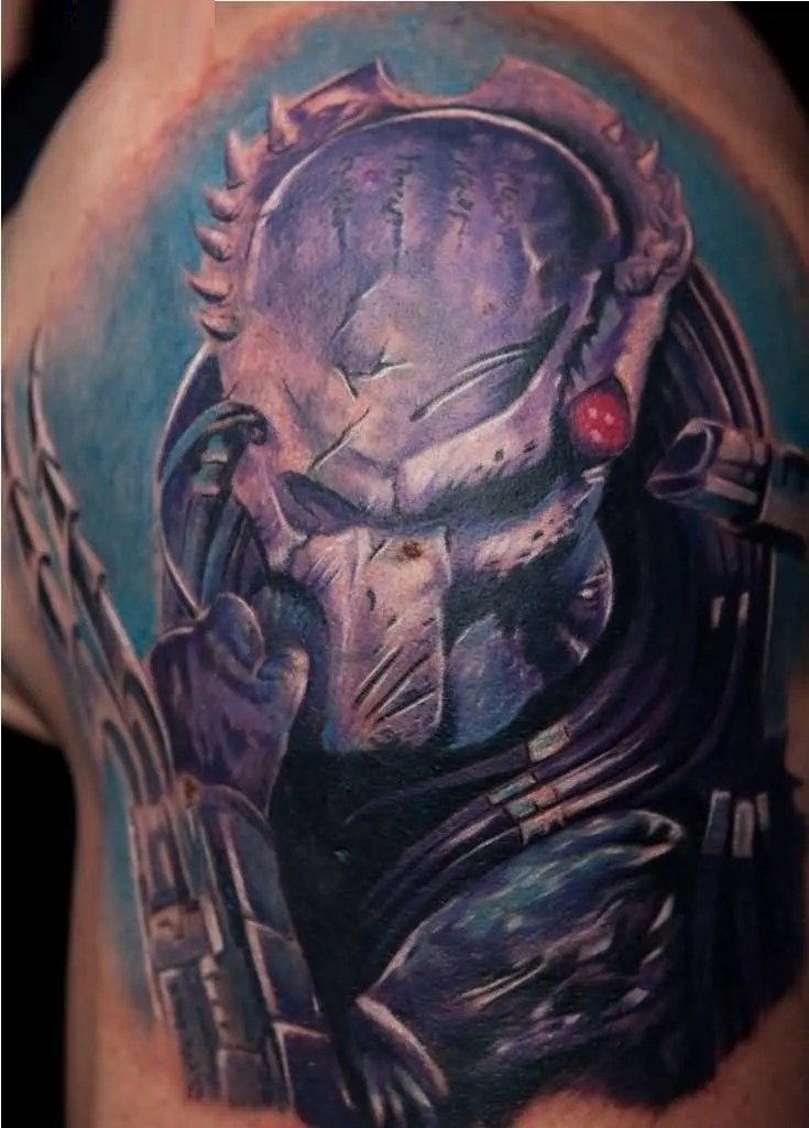 cool blue and sky color ink Predator Tattoo in boy shoulder