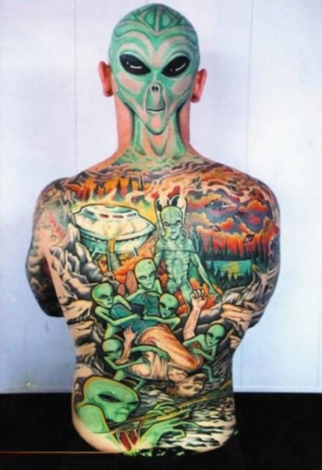 Cool Colorful Ink Male Alien Head Tattoo On Full Back For Boys