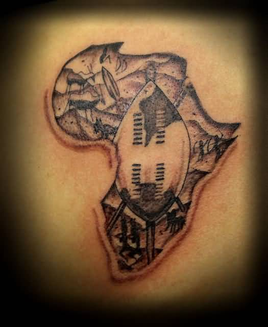 Cool Gray Ink Color Tattoo Of Africa Map