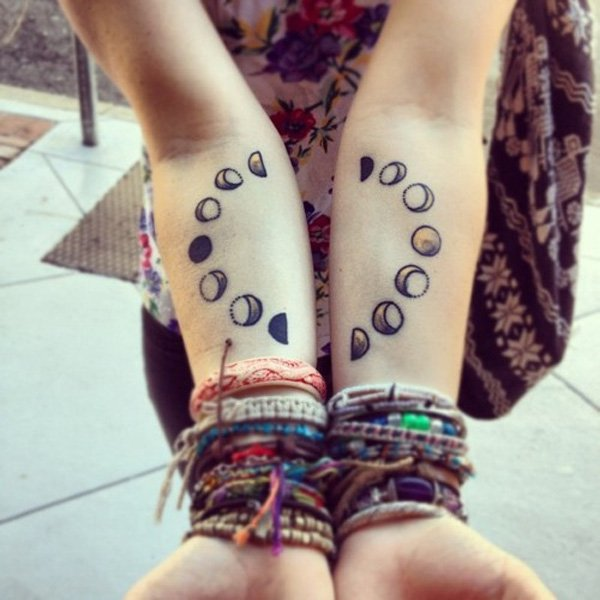 Cool Moon Phases Tattoo On Wrist With Black Ink For Man Woman