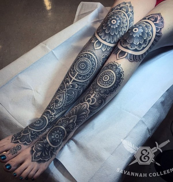 Coolest Mandala Calf Tattoo With Black Ink For Man Woman