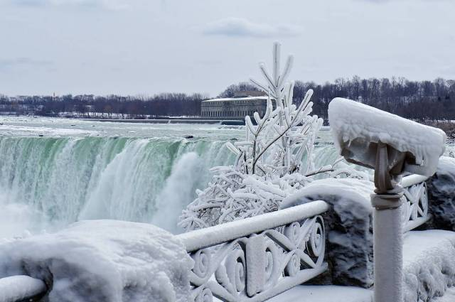 Coolest Side View Of Frozen Niagara Falls During With White Combination