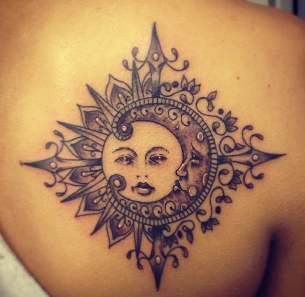 Coolest Sun And Moon Tattoo On Back With Black Ink For Man Woman