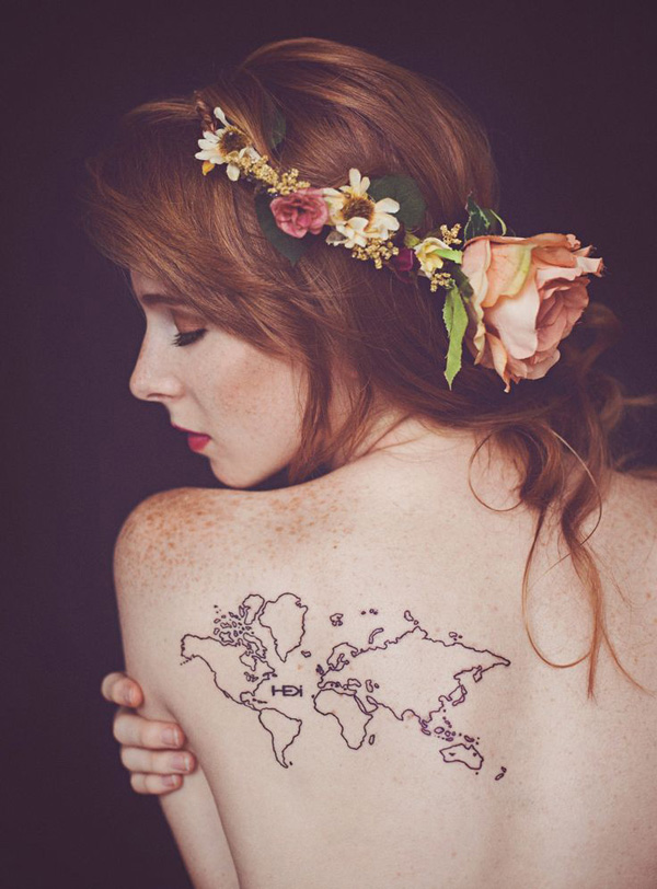 Coolest Aweaome Black Ink Tattoo On Back World Map Tattoo