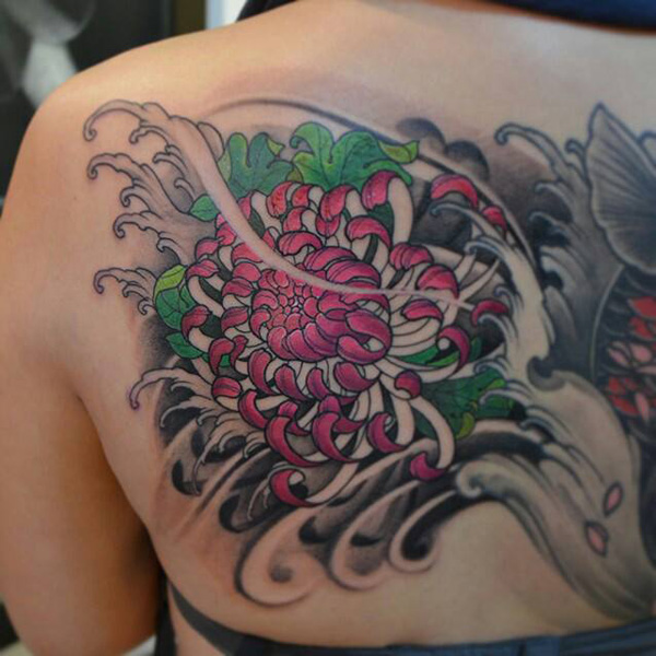 coolest chrysanthemum back tattoo for women on back With colourful ink For Man And Woma