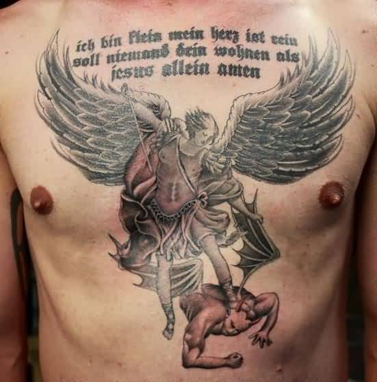 coolest gray and red light color ink angel warrior tattoo on boy's full chest for boys made by expert