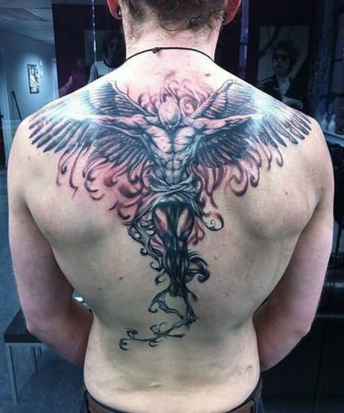 crazy gray and red light color ink Angel Tattoos on boy back side made by expert artist for boys only