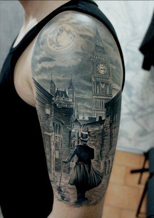 Cute Moon And Streets Of Uk Tattoo On Arm With Black Ink For Man Woman