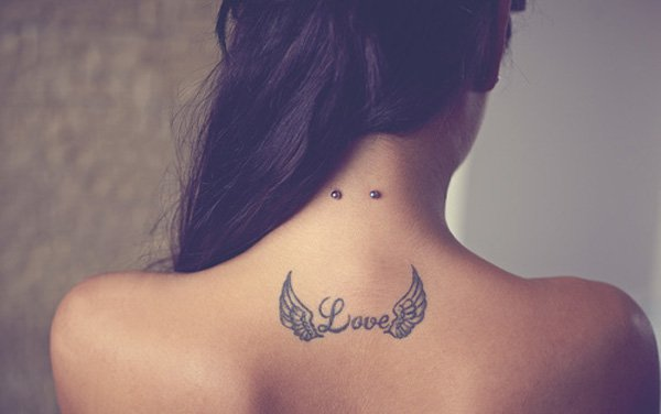 Cute Small Wing Tattoo On Back With Black Ink For Man Woman Wing Tattoo