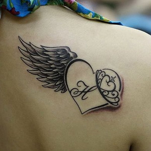 Cute Wing And Heart Tattoo On Back With Black Ink For Man Woman