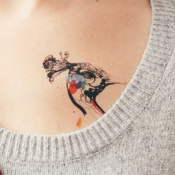 Cute Peacock Temporary Tattoos On Chest For Man Woman