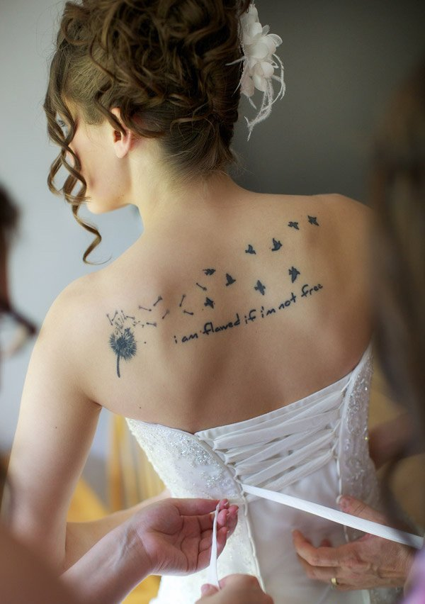 dashing Dandelion Tattoos on back With Black ink For Man And Woman