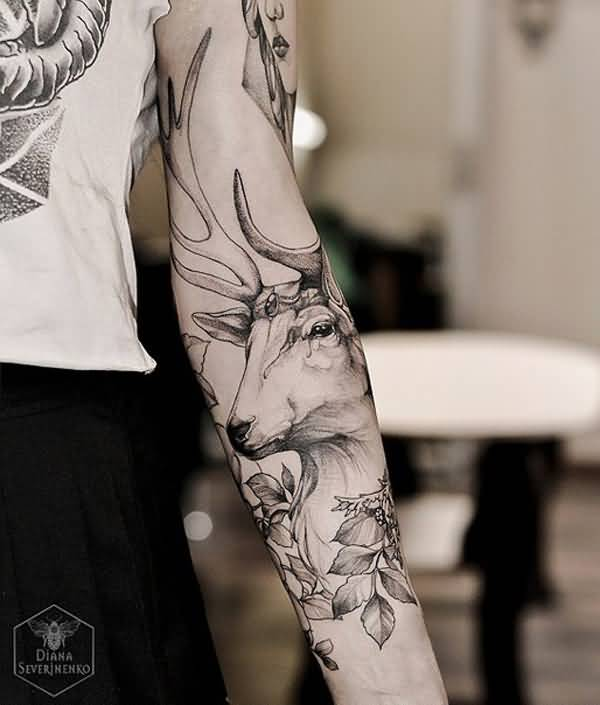 dashing deer sleeve tattoo on arm With black ink For Man And Woma