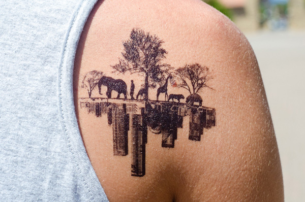 Dashing Temporary Tattoos Of City And Wood For Man Woman