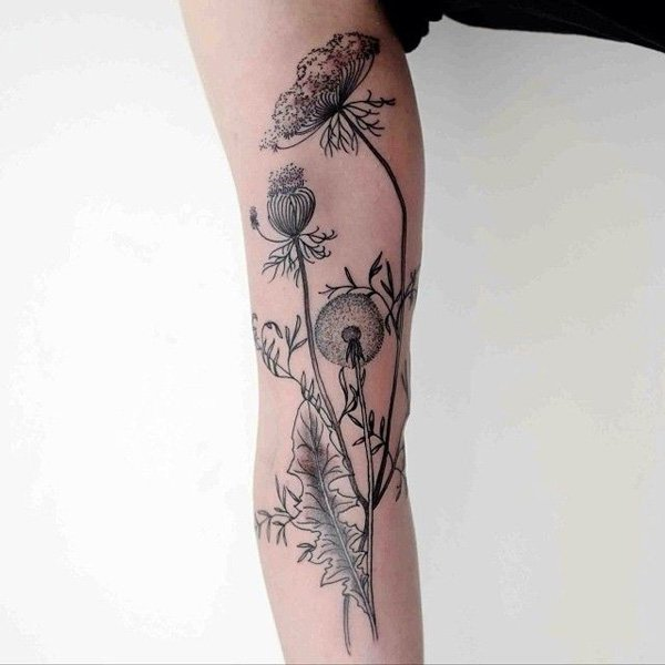 delicate Dandelion Tattoos on hand With Black ink For Man And Woman