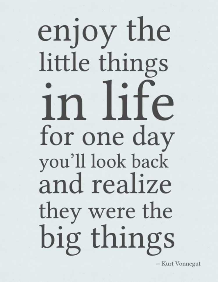 Enjoy The Little Things In Life For One Day Youll Look Back And Realize They Were The Big Things Kurt Vonnegut