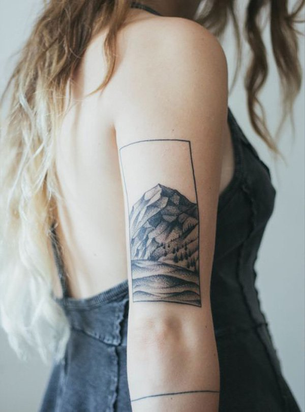 eye catching mountain tattoo on hand With Black ink For Man And Woman