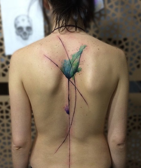 Eyecatching Watercolor Spine Tattoo With Colourful Ink For Woman