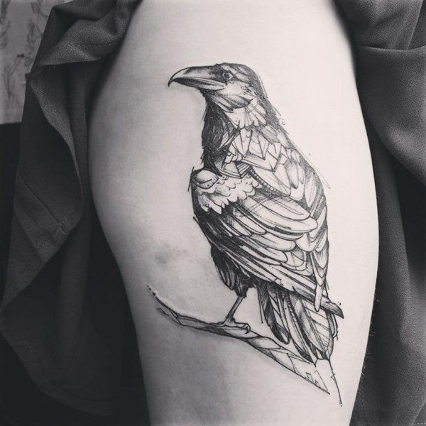 fabulous Raven Tattoo on arm with Black ink For Man And Woman
