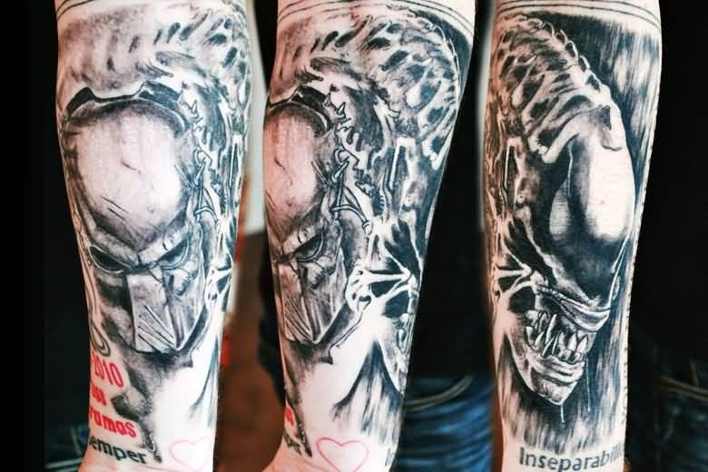 Fabulous Red Wording And Gray Color Ink Predator Tattoo On Mans Arm For Man