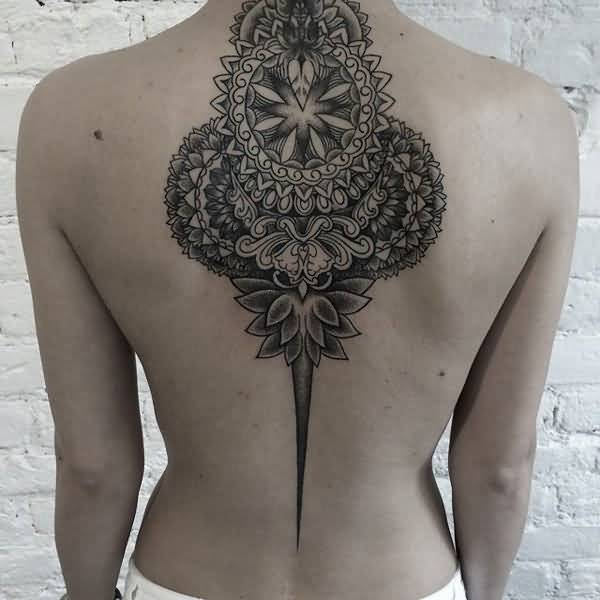 Famous Mandala Back Tattoo For Woman With Black Ink