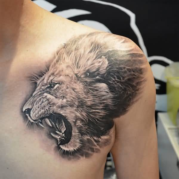 Famous Gray Color Ink Angry Africa Lion Tattoo For Man