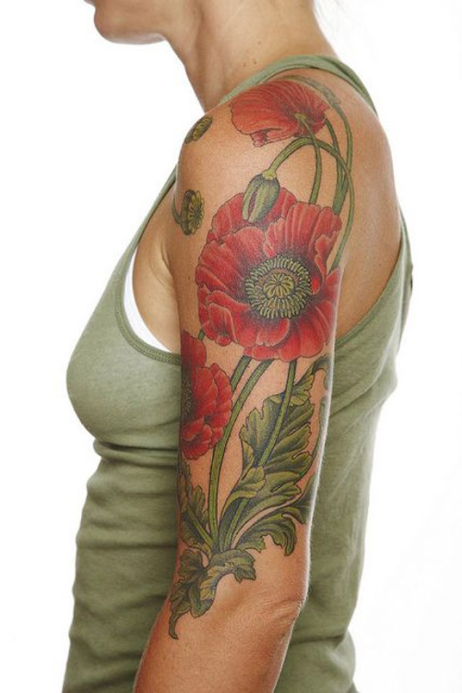 fantastic Poppies tattoo on arm With colorful ink For Man And Woman