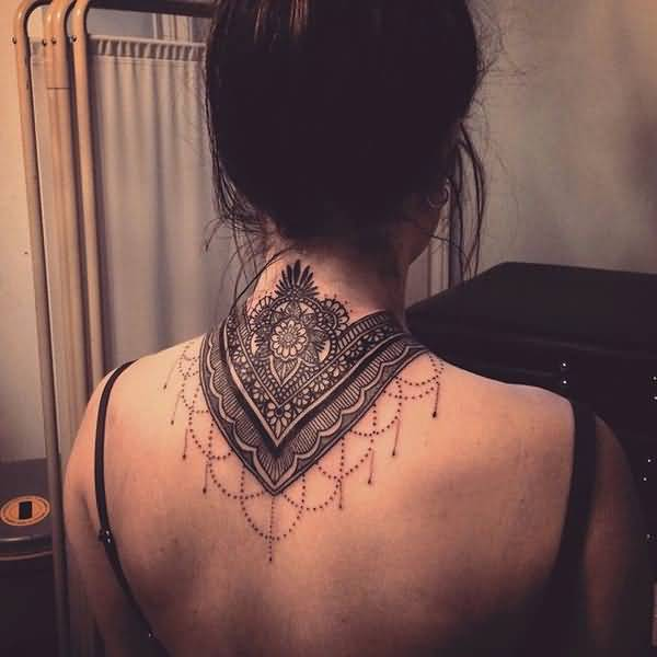 Great Mandala Neck Tattoo With Black Ink For Man Woman