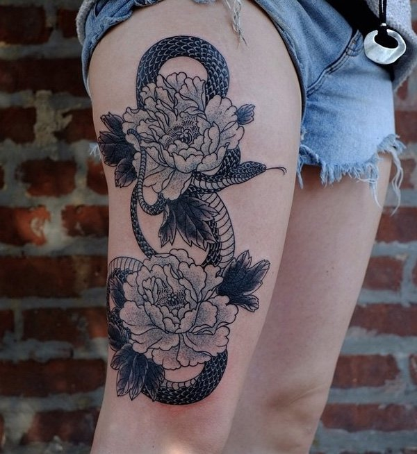 great Peony and snake thigh tattoo on thigh With Black ink For Man And Woma