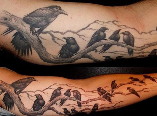 great Ravens Tattoo on Sleeve on leg with Black ink For Man And Woman