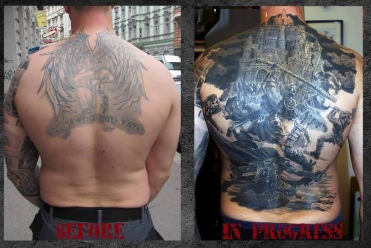 great black and gray color ink angel warrior tattoo on boy's back for boys only made by expert artist