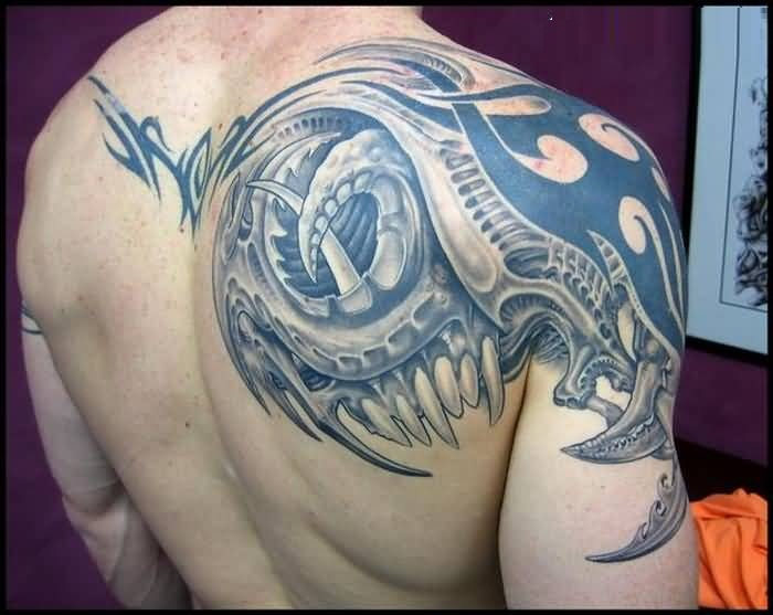Groovy Blue Color Ink Alien Tattoo For Mans Beautiful Back For Man