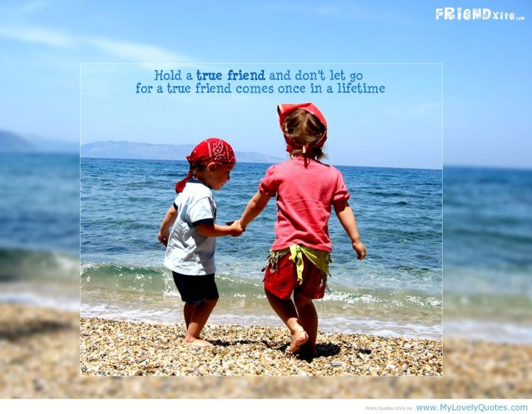 hold a true friend and don't let go for a true friend comes once in a lilfetime