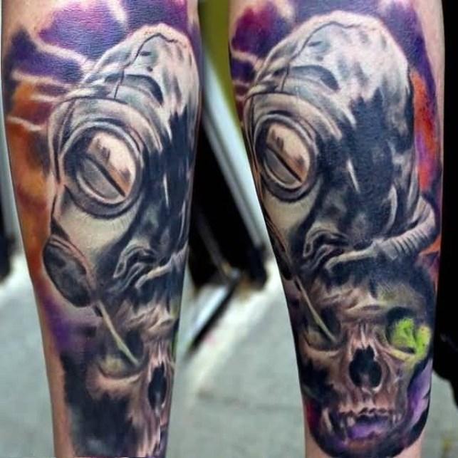 Horrible Blue Color Ink Alien Head Tattoo Designed On Man Leg For Boys
