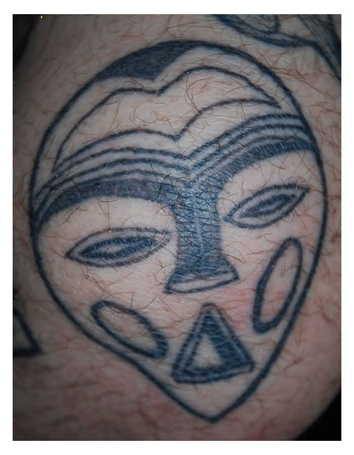Horrible Gray Color Ink Mask Tatto Of African Culture For Man