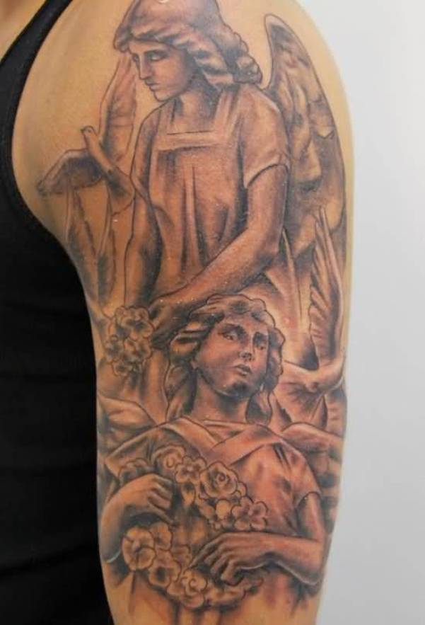 impressive gray and red light color ink Angel Tattoos on boy shoulder made by expert artist for man