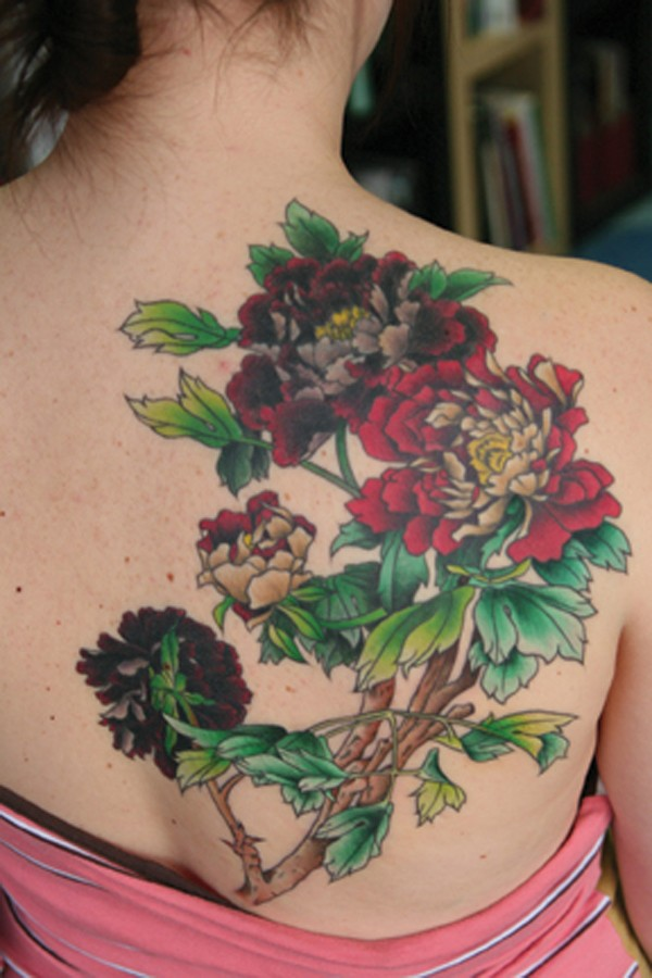 incredible Peony tattoo on back on back With colourful ink For Man And Woman
