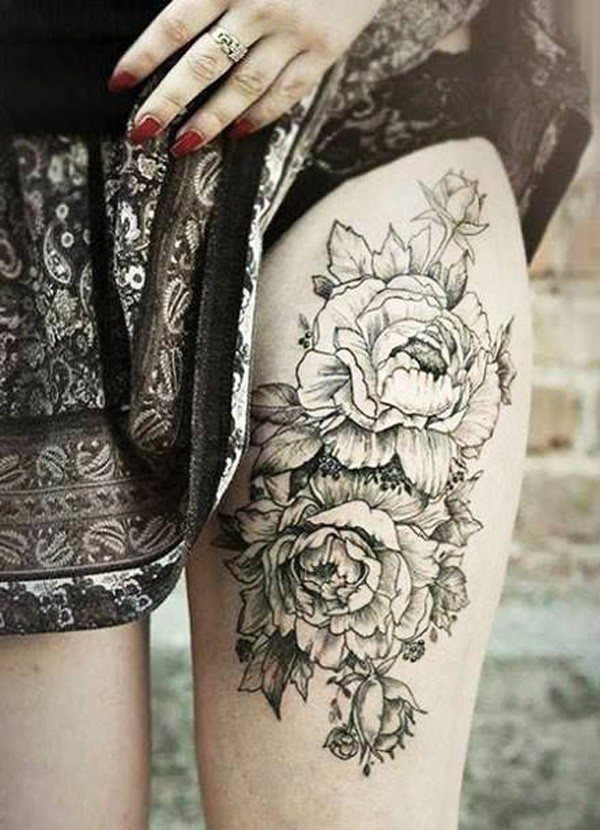 incredible Peony tattoo on thigh With Black ink For Man And Woman