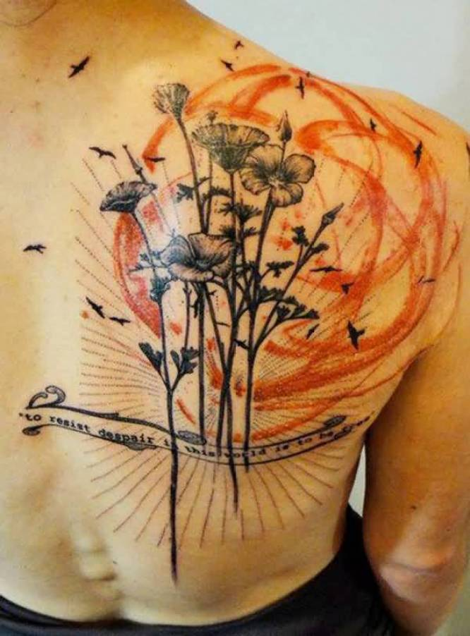 incredible Poppies tattoo on back With colourful ink For Man And Woman