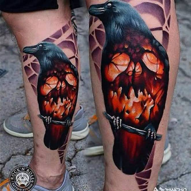 incredible Raven and Skull Tattoo on Leg on calf with Black & red ink For Man And Woman